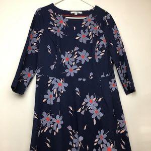 Boden long sleeve dress blue w/ flower pattern